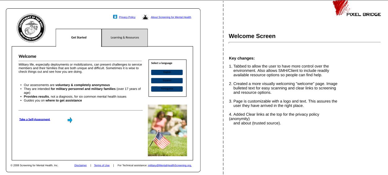 Online Screening Homepage Wireframe