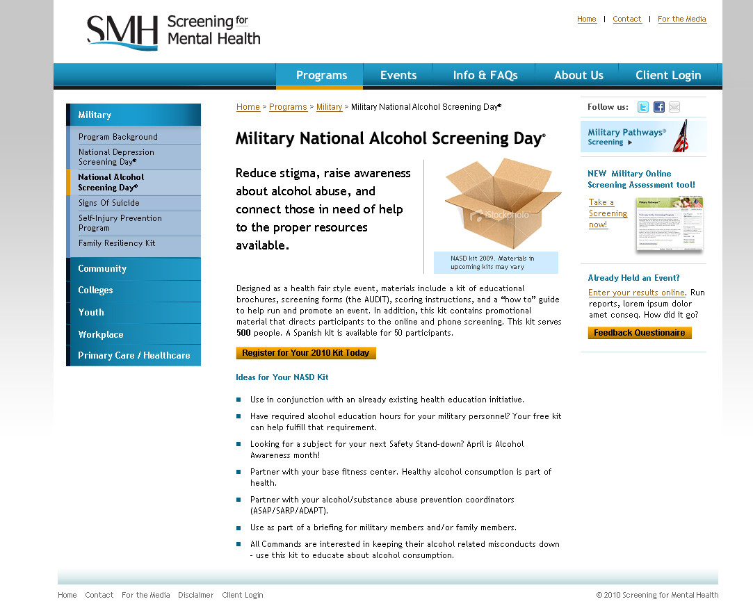 Screening Event Landing Page